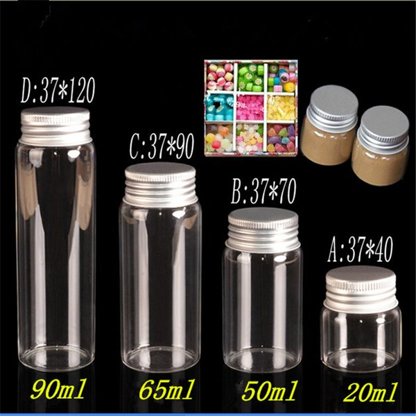 20ml 50ml 65ml 90ml Glass Storage Bottles with Aluminium Cap Empty Gift Bottle Clear Jars Containers 24pcs Free Shipping