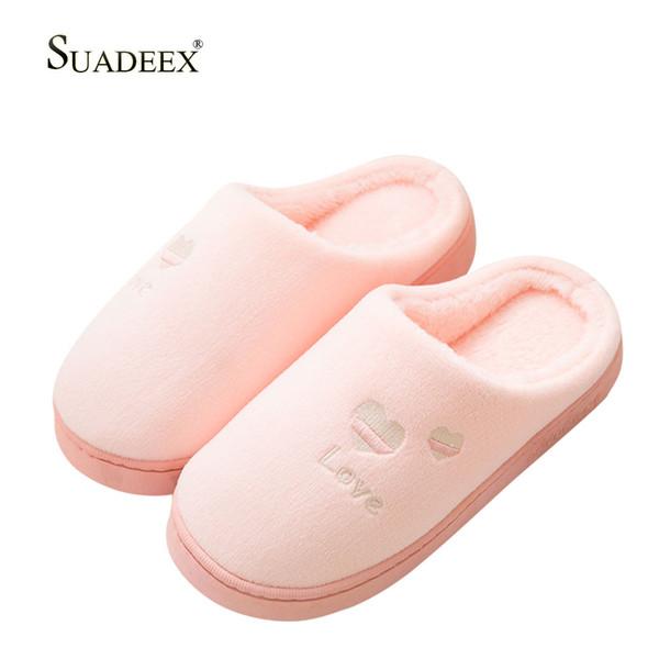 SUADEEX Invierno Mujer Zapatillas de casa Dormitorio interior Zapatos cálidos Mujer Hombre Slip on Flats Slides Sandalias Tallas grandes para amantes Parejas