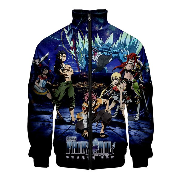 Fairy tail 3D Print Women/Men Fashion Zipper Standing Collar Casual Street Cool Hipster Hooded Sweatshirt Popular Hoodies Zipper
