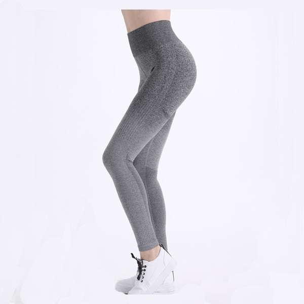 High Waist Gym Leggings Knitted Yoga Pants Women Stretchy Fitness Clothing Vital Seamless Push Up Gym Tights Running Sportwear