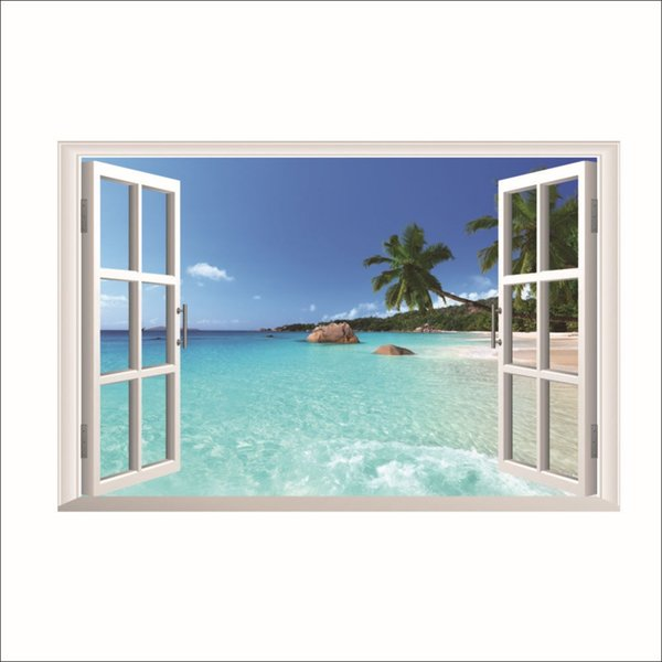 3D False Windows Landscape Wall Stickers Home Decor Bedroom Seaside Beach Scenery PVC Wall Decals Coconut Tree Art Mural Poster