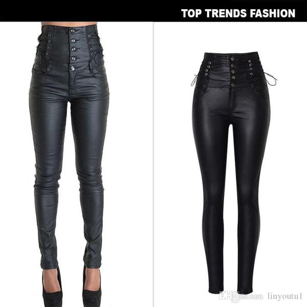 Le donne dell'unità di elaborazione pantaloni di pelle nera sexy di stirata di Bodycon donne dei pantaloni a vita alta jeans lunghi pantaloni donne