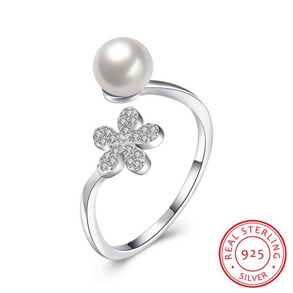 Anello di perle all'ingrosso Anello di perle elegante e nobile Anello di perle Fiore di coreano vento apertura argento 925 con scatola