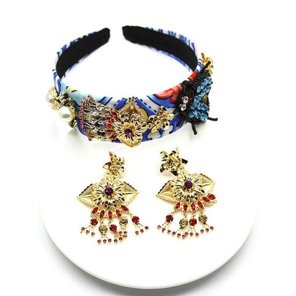 New Baroque headband Bees with diamonds big water drops geometric retro catwalk headband luxury fashion hair