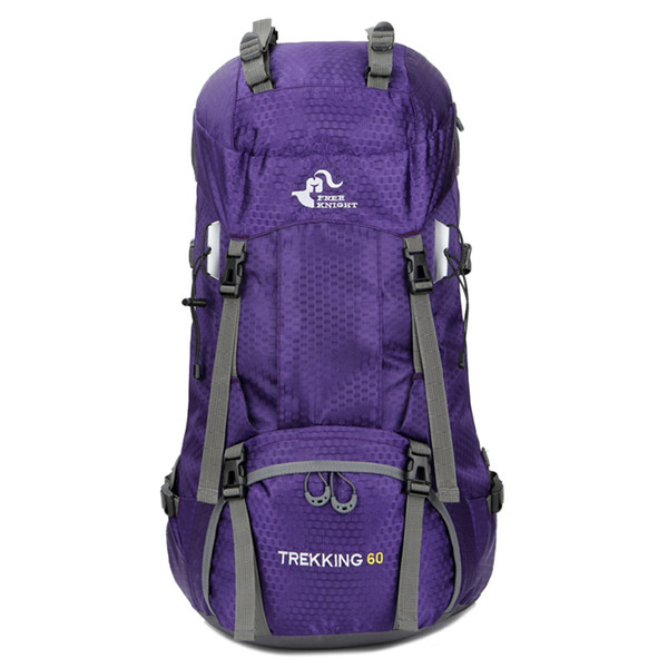 FK0395 60L Waterproof Foldable Backpack Camping Bag with Rain Cover Purple