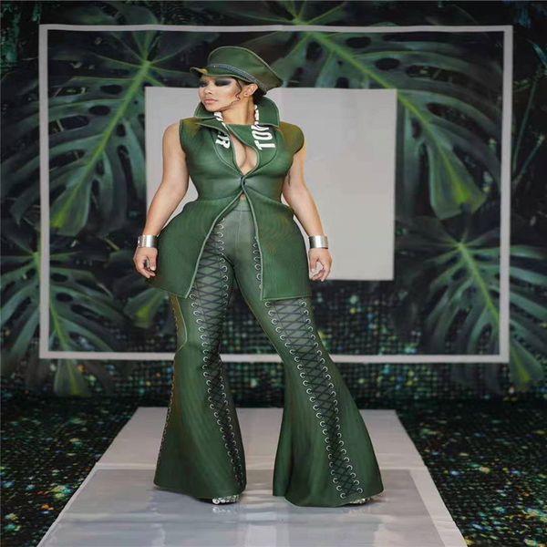 Y70 Kadın yeşil ceket baskılı kadın pantolon parti akşam elbise disko sahne dans kostümleri bar kıyafetleri performans giyim kulübü parti giymek