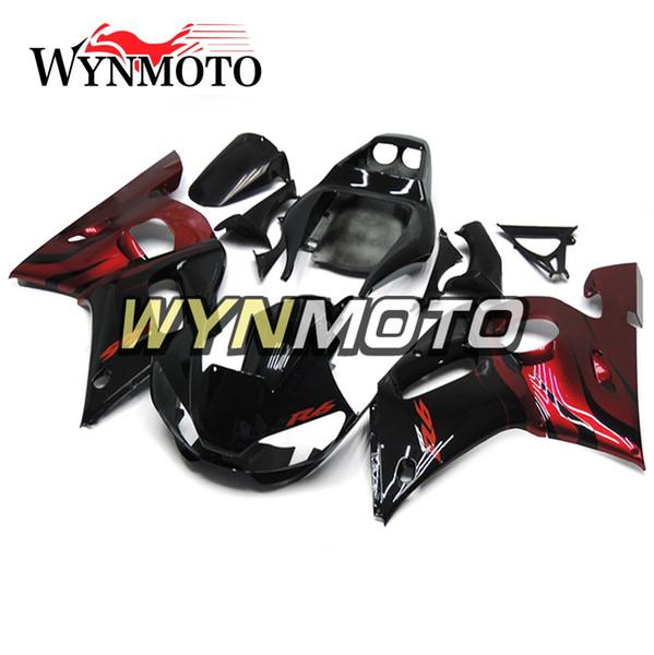 Ajuste al 100% para 1998 1999 2000 2001 2002 Yamaha YZF-600 R6 Kit completo de carenado YZF 600 R6 Carrocería Rojo oscuro Negro brillante Personalizado Carrocería