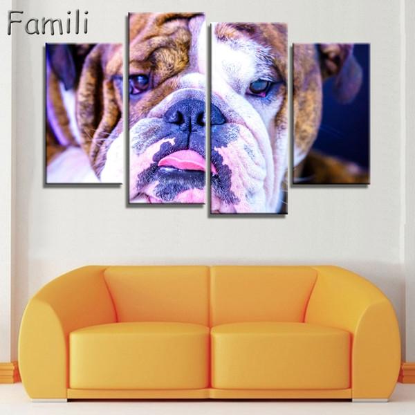 4pcs lona pintura de parede Pictures para pinturas Kids Room Modular parede Pôsteres Dog Home Decor e Art Prints Dog