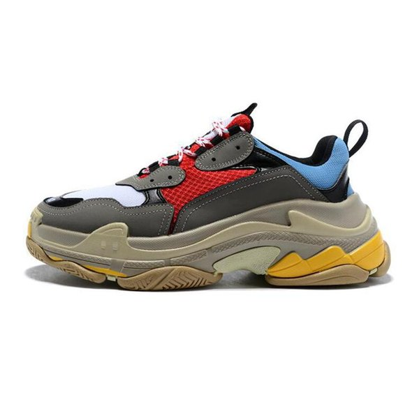 2019 100% ÜST Moda Üçlü s Sneakers erkekler kadınlar için siyah kırmızı beyaz yeşil Rahat Baba Ayakkabı tenis artan ayakkabı
