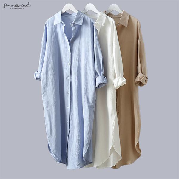 Frauen-Hemd-Bluse Cotton 2019 Frühlings-Sommer-V-Ausschnitt Baumwolle Womans Plus Size langer Abschnitt Lässige Leinen Tops Weiß Blau