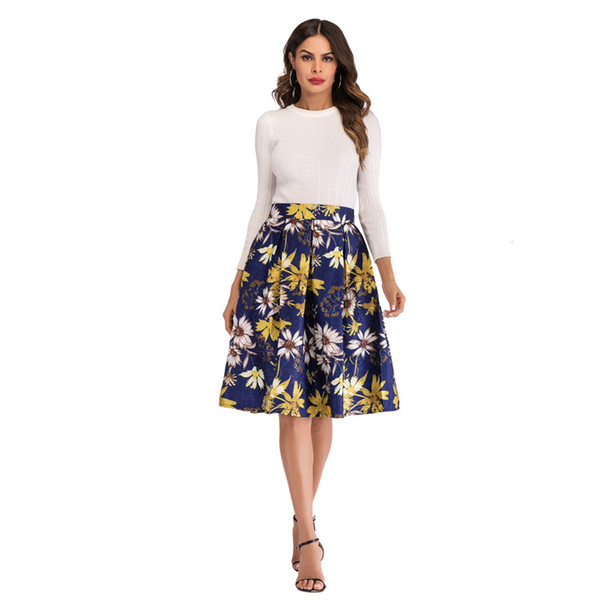 2019 women's fashion Europe and the United States spring and summer new print skirt gilded flowers palace court skirt skirt national style r