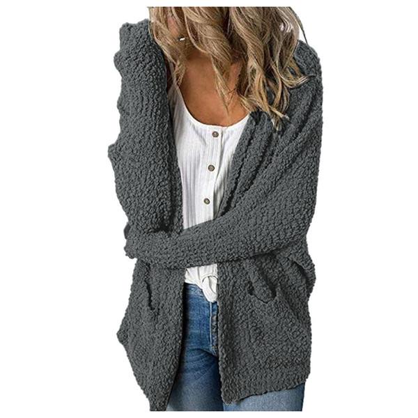 Casual Woemn Manteau 2019 Woollen Automne Hiver avant ouvert Pull à manches longues Lapel Loose Women Cardigan Manteau Femme Trench
