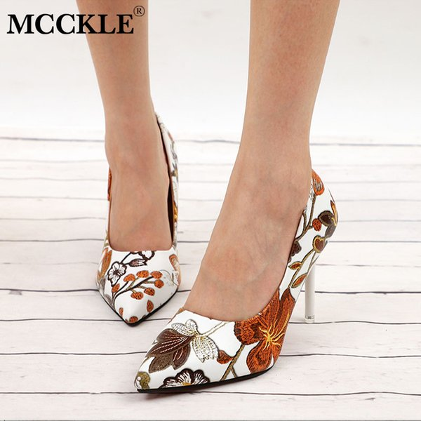 2019 Dress MCCKLE Women Sexy Pumps High Heels Lady Floral Printing Shallow Slip On Pointed Toe Office Shoes Female Fashion Footwear