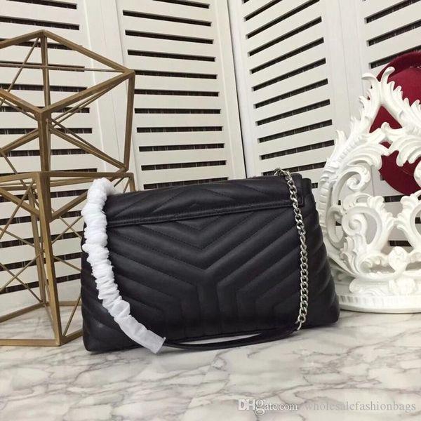 2019 DE LUJO marca estilo nuevo bolso de hombro solapa de la cadena de cuero real de señora de calidad superior del monedero del bolso de mano-europeo y americano