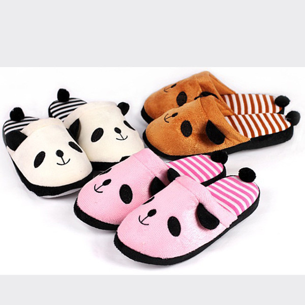 Women Warm Slippers Lovely Cartoon Panda Home Floor Soft Stripe Slippers Winter Spring Female Shoes Sep#