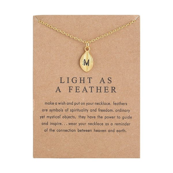 leaf personality 26 english letter alphabet necklace gold color chain choker make a wish card name necklace for women