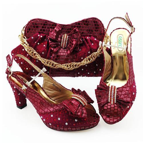 Scarpa e borsa da donna di alta qualità da abbinare per feste Set di scarpe e borsa da matrimonio africano decorato con strass Scarpe italiane W24