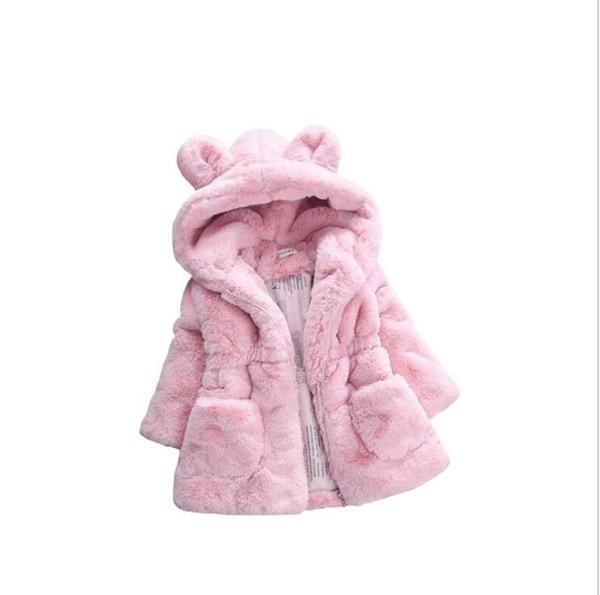 2019 Neue Winter BabyOberwear Kunstpelz Fleece Mantel Pageant Warme Jacke Weihnachten Schneeanzug 1-8Y Baby Kapuzenjacke Oberbekleidung