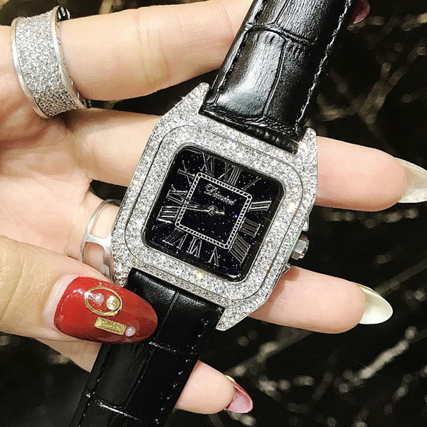 Luxury Full Diamond Women Square Watches Ladies Fashion Leather Strap Rhinestone Quartz Watch Silver Female Clock C19041203