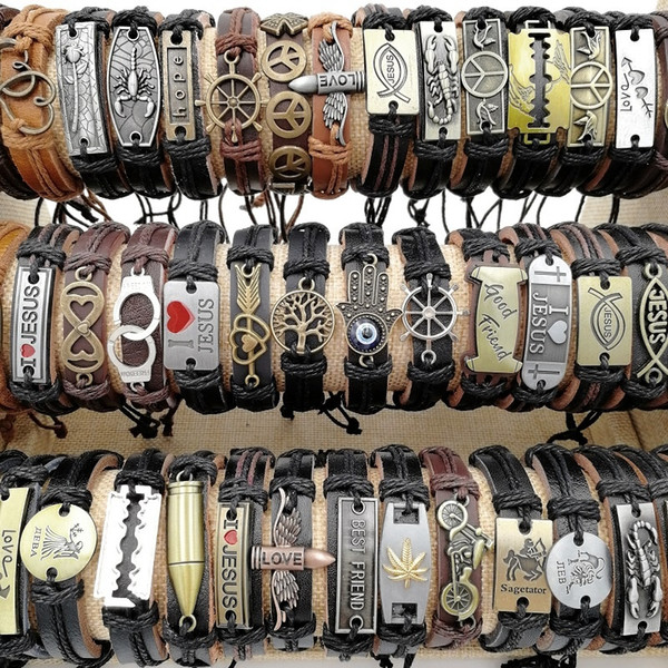 top popular Fashion 50pcs lot Charm Cuff leather Bracelets Mix Styles Punk Vintage Metal Handmade Bangles for Men's and Women's Jewelry party giftsGifts 2021
