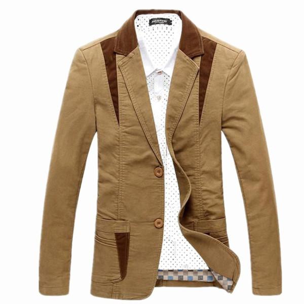 2019 Nuevos Hombres de Lujo Trajes de Algodón Vestido Blazer Slim Fit Blaser Masculino Masculino Chaqueta Chaqueta de Boda para Hombres Regular Plus Size