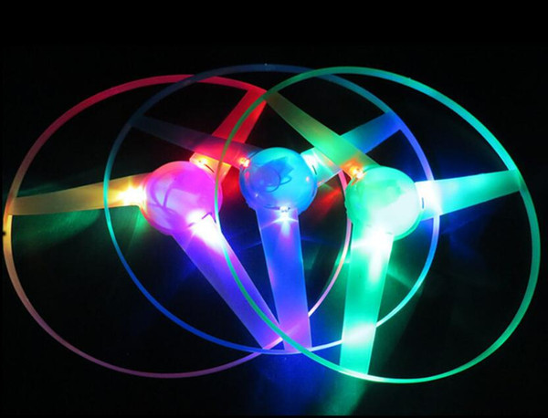 Funny Colorful Pull String UFO LED Light Up Flying Saucer Disc Kids Toy 2018 Hot Children Girls Boys UFO Luminous Toys