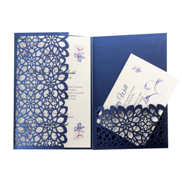 Luxury Flora Wedding Invitations Card Elegant Hollow out Wedding Party Decoration Business invitations with Envelopes White Pink Blue DHL