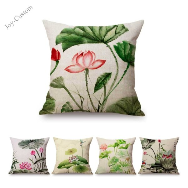 Ink Painting Art Lotus Flower Chinese Calligraphy Home Decorative Sofa Throw Pillow Case Green Palm Leaves Linen Cushion Cover