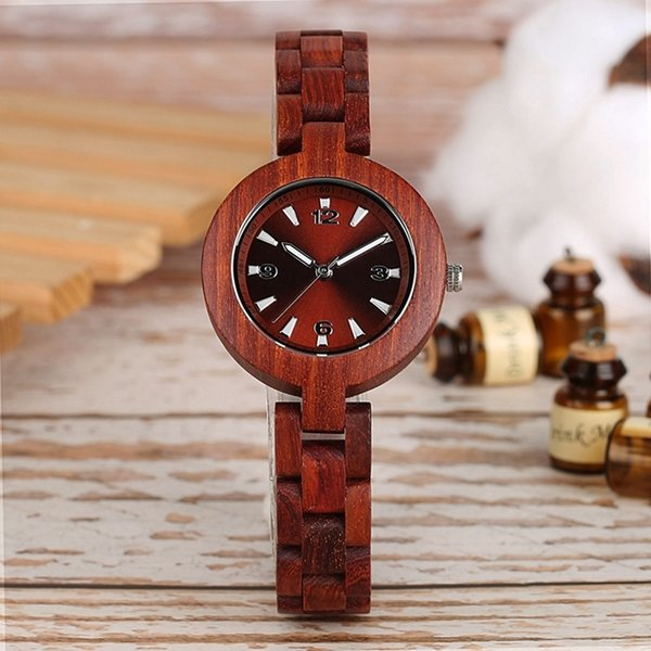 Women's Wood Watches Top Brand Unique Little Cute Dial Quartz Clock Ladies Dress Wooden Bangle Watch Environmentally Reloj Mujer J 190505