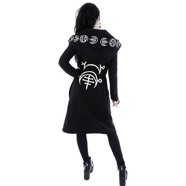 2019 Spring Gothic coat Casual Cool Chic Black Plus Size Women Sweatshirts Loose Cotton Hooded Plain Print Female Punk Hoodies