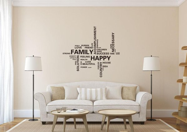 Family Wall Decals Vinyl Word And Letters Wall Art For Living Room Bedroom  Motivation And Love Wall Sticker Murals Deco Wall Stickers Decor Decals ...