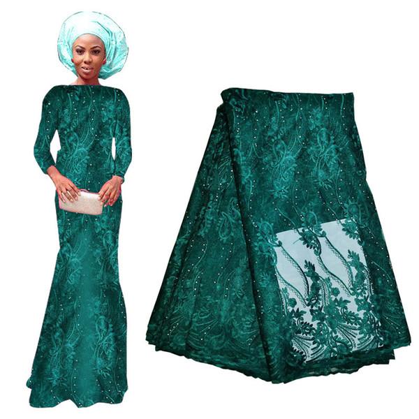 Tecidos de renda verde escuro com miçangas 2020 novo atacado 5 jardas material de renda para a noite vestido de festa de formatura estilo africano 715-7