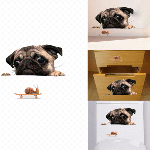 New 3D Pug Dog PVC Car Stickers For Laptop Decal Fridge Skateboard Kitchen Cute Home Decor Waterproof Cute Vinyl Decal #279320