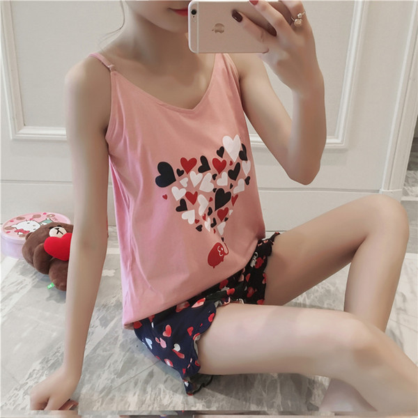 Venda da fábrica 2018 Novas Mulheres Pijamas Ternos Sexy Casa Terno Sleepwear Manga Curta Pijama Pijama Confortável Menina Curto Pijama Pant
