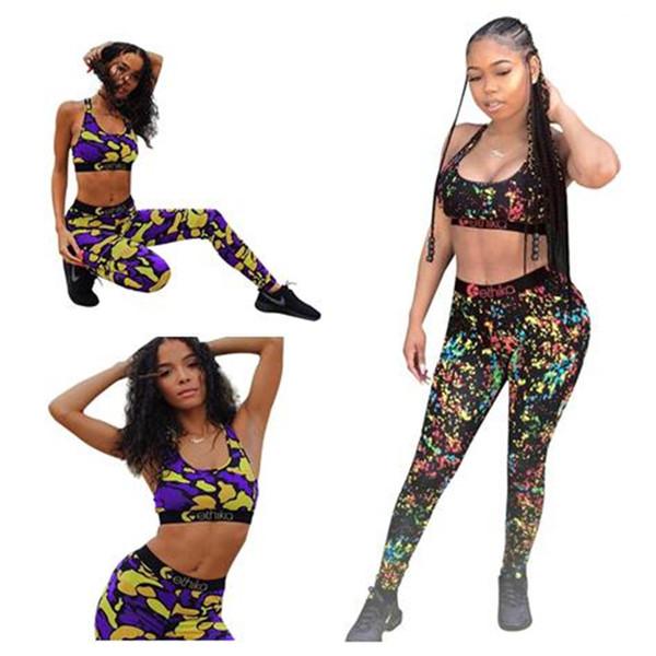 Women Ethika Tracksuit Sports Bras Crop Tank Vest + Pants Legging Two Piece Outfits Designer Brand GYM Sportswear Beachwear Swimsuit A3211