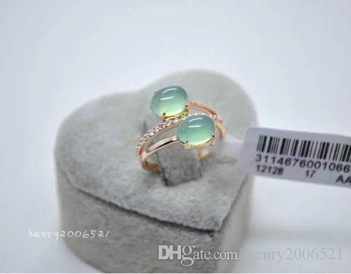 Very attractive jewelry Valentine's Day Cocktail 18k rose gold filled fine Emerald jade ring size 7-8
