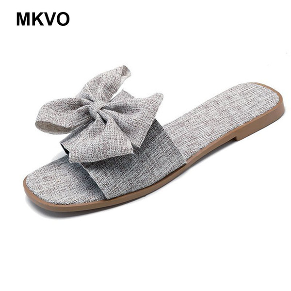 Women Slippers canvas Bow Summer Beach Shoes Female No Fur Slippers Flat Casual Solid Flip Flops Sandals Outdoor Sweet