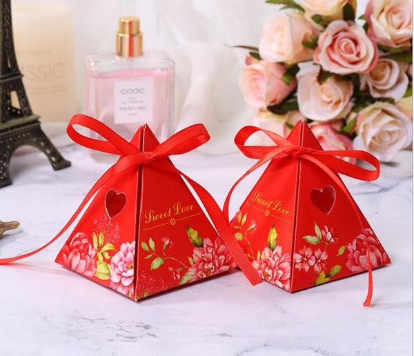 New Triangular Pyramid Marble Candy Box Wedding Favors and Gifts Boxes Chocolate Box Bomboniera Giveaways Boxes Party Supplies GB416