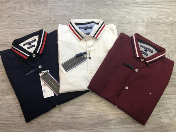 M-2XL marque chemises habillées pour hommes printemps mince revers manches longues marque logo décoration chemises designer chemises