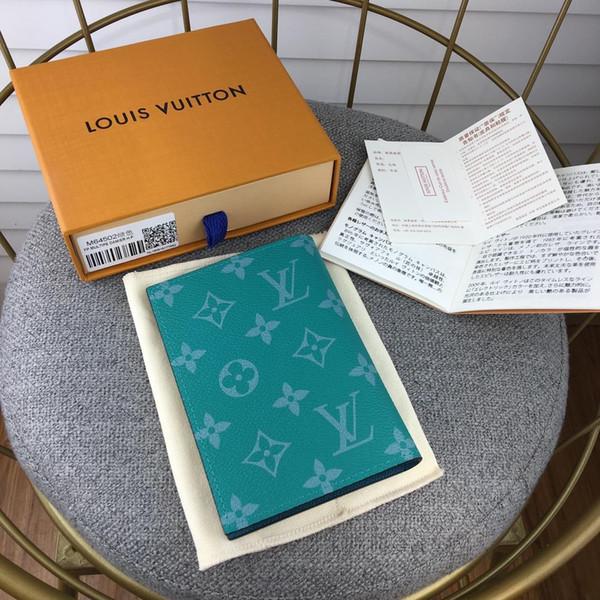 2019 Nueva carta de color, hombres de cuero genuino, cartera corta con caja, enrejado clásico, llaveros para tarjetas, monedero de mujer, billetera de pasaporte M64502