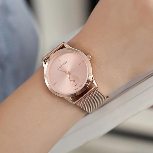 Mnycxen Modern Fashion Simple Quartz Watch Women Mesh Stainless Steel Watchband High Quality Casual Wristwatch Gift For Female C