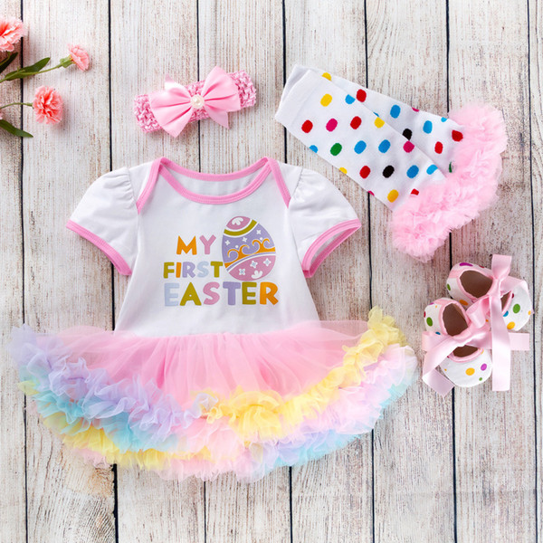 Cotton Baby Girls Clothes 1 Year 1st Easter Dress Party Dresses For Girl Toddler Kids Baptism Gown Tutu Outfits With Headband Y19050602