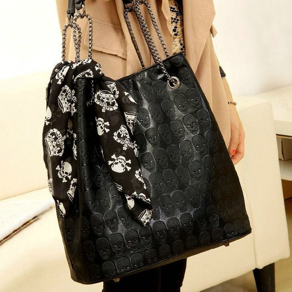 European and American style ladies skull skull handbag chain scarf casual cross bag Lady Tote Shoulder Bucket Bag Y410
