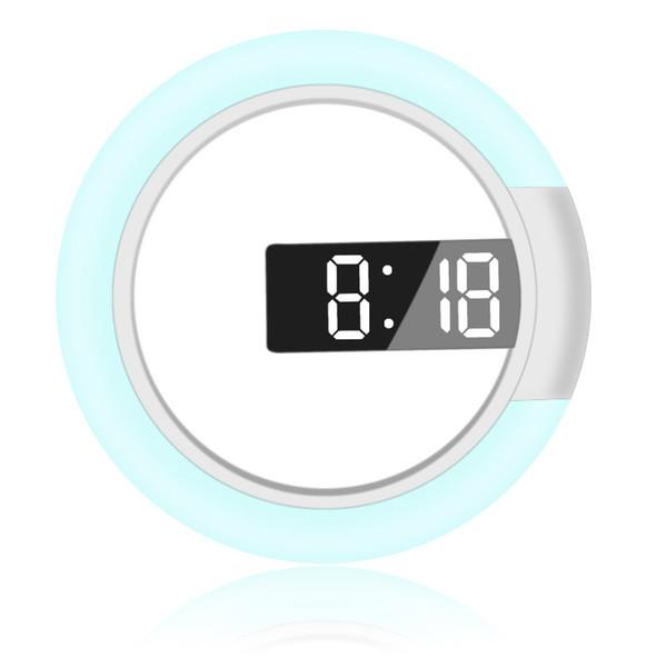12-Polegada Digital Rgb Rodada Led Espelho de Parede Relógio de Alarme de Temperatura Da Parede Europeu Sala de estar Brilho Ajustável Moda