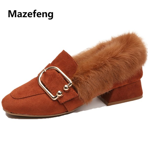 Dress Shoes Mazefeng 2019 New Fashion Winter Women High-heeled Women Casual Pumps Plush British Style Ladies Square Toe Slip-on