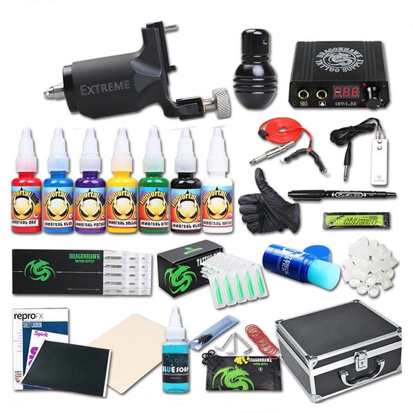 Rotary Tattoo Kit Professional Rotary Motor Machine Gun Mini Power Supply Immortal Inks Needles Tips Tattoo Set