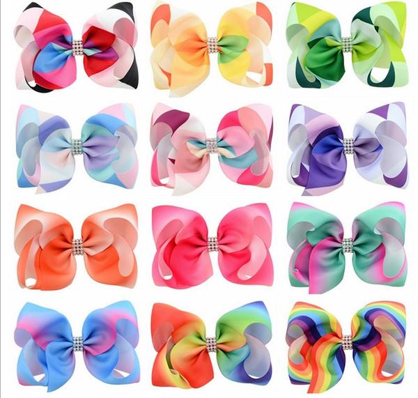 5.5 Inch Baby Girls Hairpins Beautiful Rainbow color grosgrain Barrette ribbon hairpin children hair Bowknot Accessories 838
