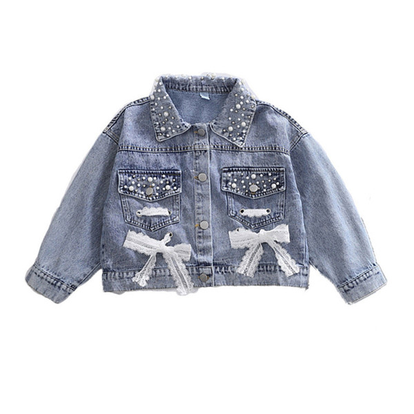 top popular 2020 Girls Denim Jacket Cardigan Coat Lace Kids Jean Outwear Long Sleeve Autumn Children Clothing Spring Girls Clothes 2021