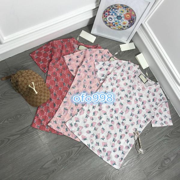 High end women girls Short sleeve T-Shirt CREW NECK Full body Strawberry Jacquard letter embroidery print women vogue Top T-shirt