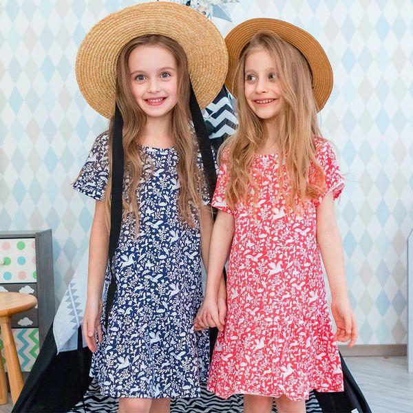 لطيف الفتيات فساتين حقيبة أنماط طباعة مصمم ملابس الاطفال للطفل حزب اللباس 100 ٪ قطن اللباس ألف خط
